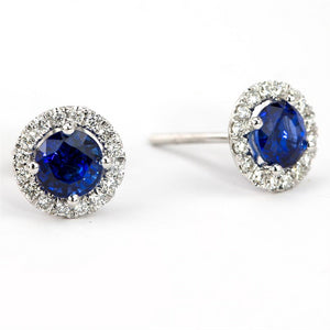 Sapphire & Diamond Round Halo Stud Earrings 14K White Gold