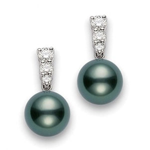 Mikimoto Morning Dew  Black South Sea Pearl & Diamond Earrings