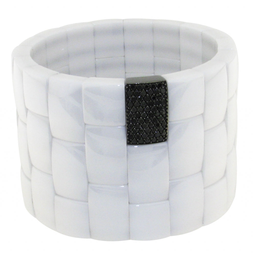 Roberto Demeglio Domino White Ceramic 3 Row Bracelet with Black Diamonds