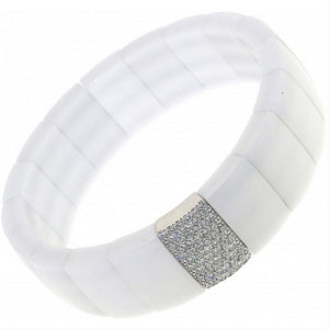 Roberto Demeglio Domino White Ceramic Single Row Bracelet with Diamond