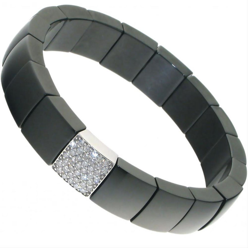 Roberto Demeglio Domino Black Ceramic Single Row Bracelet with Diamonds