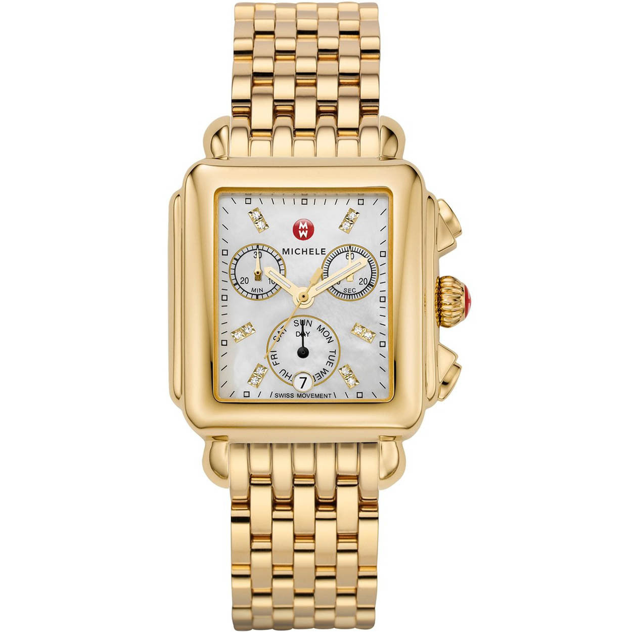 Michele Deco Chronograph Mother of Pearl Diamond Markers Gold-Tone Watch