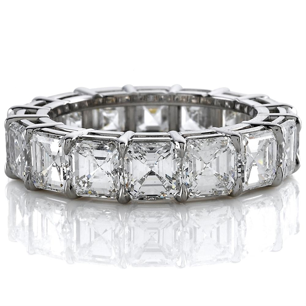 Asscher Cut Diamond Eternity Band Ring Platinum 7.84 ...