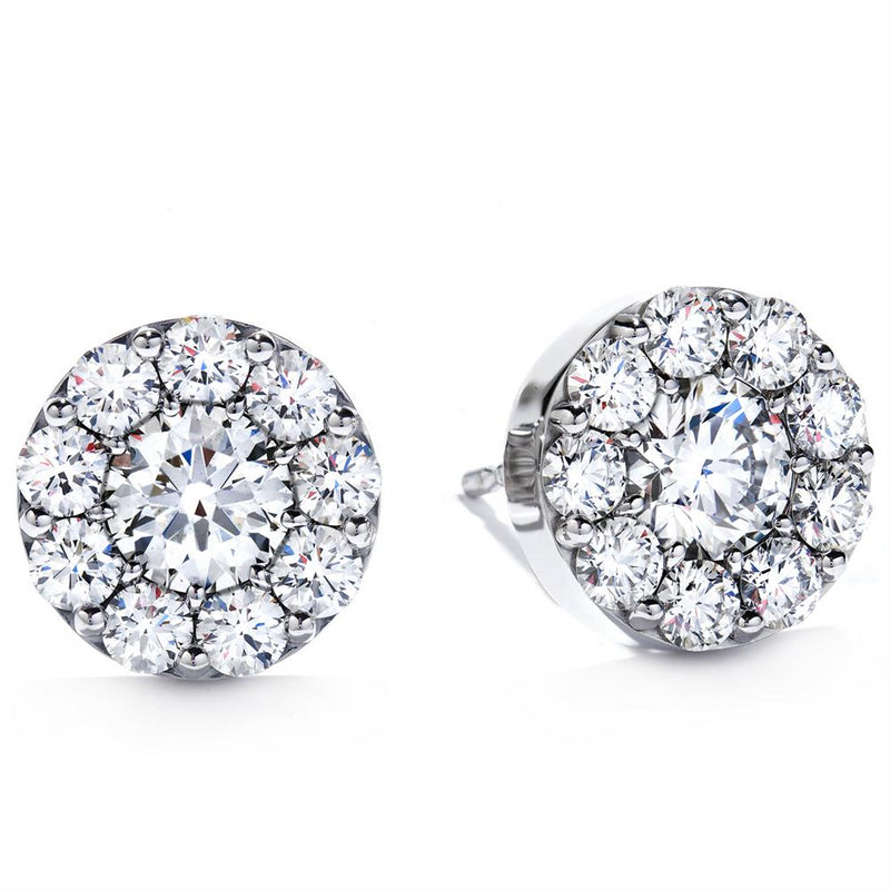 Hearts on Fire Fulfillment Round Diamond Halo Stud Earrings 18K White Gold
