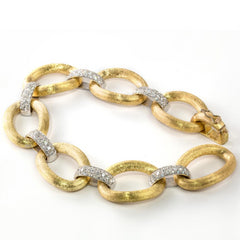 18K Yellow Gold Large Oval & Pave Diamond Link Bracelet Made in ITALY