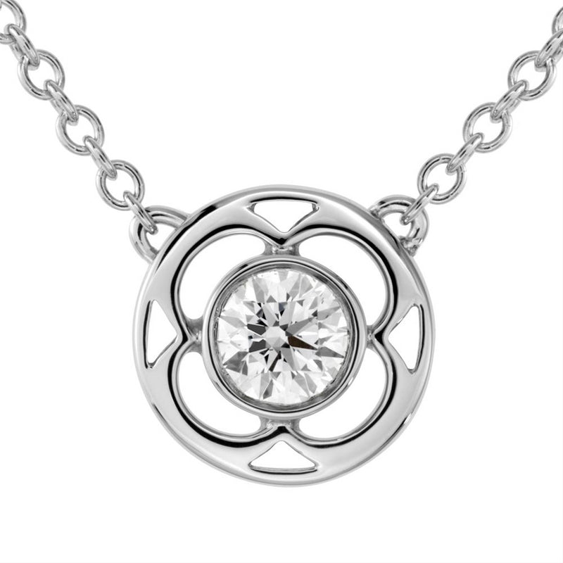 Hearts on Fire Copley Single Diamond Bezel Set Pendant Necklace 18K