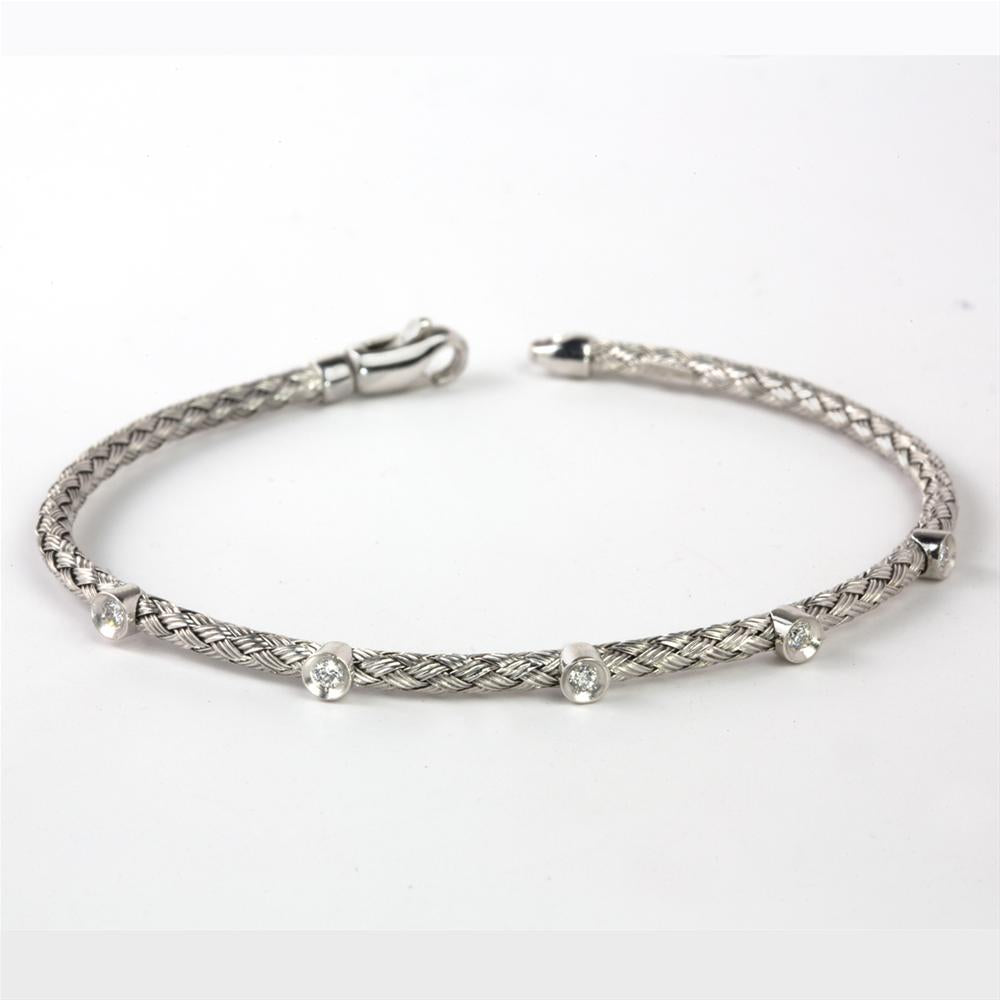 Flexible Woven 14K White Gold Bracelet with Diamonds