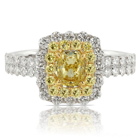 Fancy Yellow Cushion Diamond Halo Engagement Ring 18K White Gold