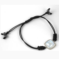 Moonstone with Diamond Halo 14K White Gold Bracelet on a Black Cord