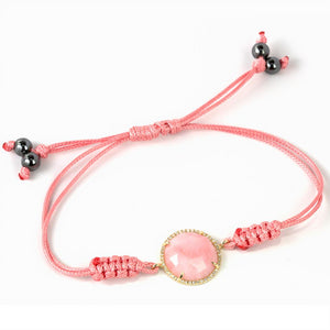 Pink Opal & Diamond 14K Yellow Gold Pink Cord Bracelet