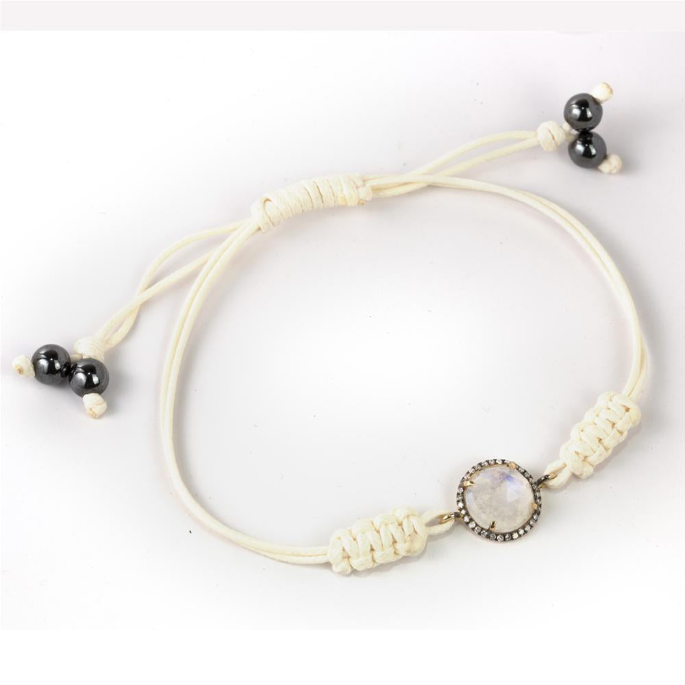 Moonstone with Diamond Halo 14K Yellow Gold Bracelet on a White Cord
