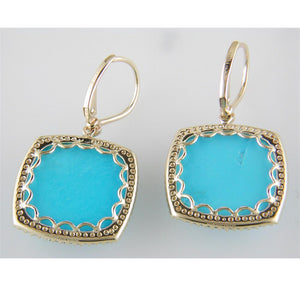 Cushion Shaped Turquoise & Diamond Halo Dangle Drop Earrings