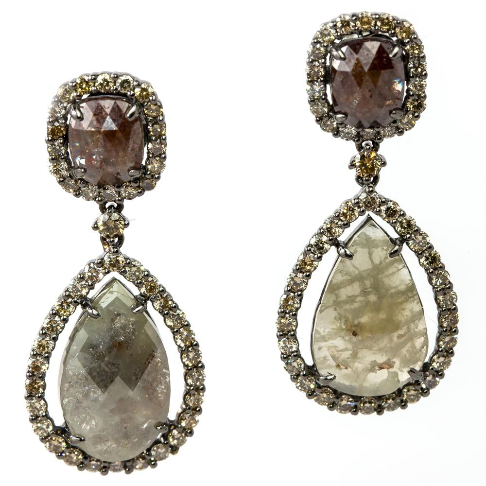 Pear & Cushion Shaped Rose Cut Fancy Grey & Brown Diamond Dangle Earrings with Champagne Diamond Halos