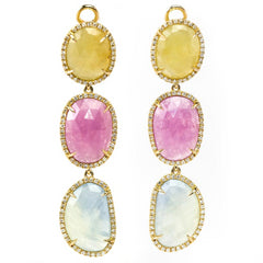 Multi-Colored Pastel Oval Sapphire & Diamond Spring Leaf Dangle Drop Earrings