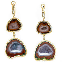 Geode Druse (Drusy) (Druzy) Collector's Gem Quartz Double Dangle Earrings with Diamonds in Yellow Gold