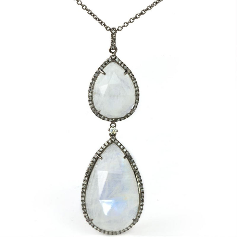 Large Moonstone & Grey Diamond Pear Shape Drop Pendant Necklace Blackened Gold