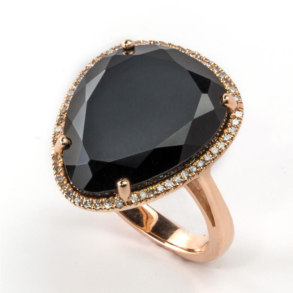 "Black Chalcedony ""Onyx"" Freeform Cocktail Ring with Diamond Halo in Rose Gold"