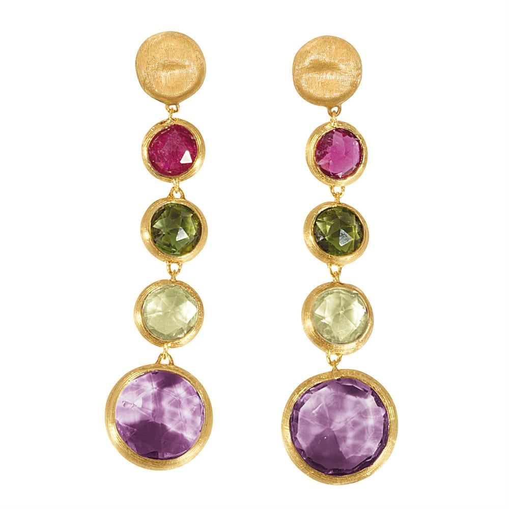 Marco Bicego Jaipur Yellow Gold Single Strand Dangle Gemstone Earrings OB901 MIX01Y