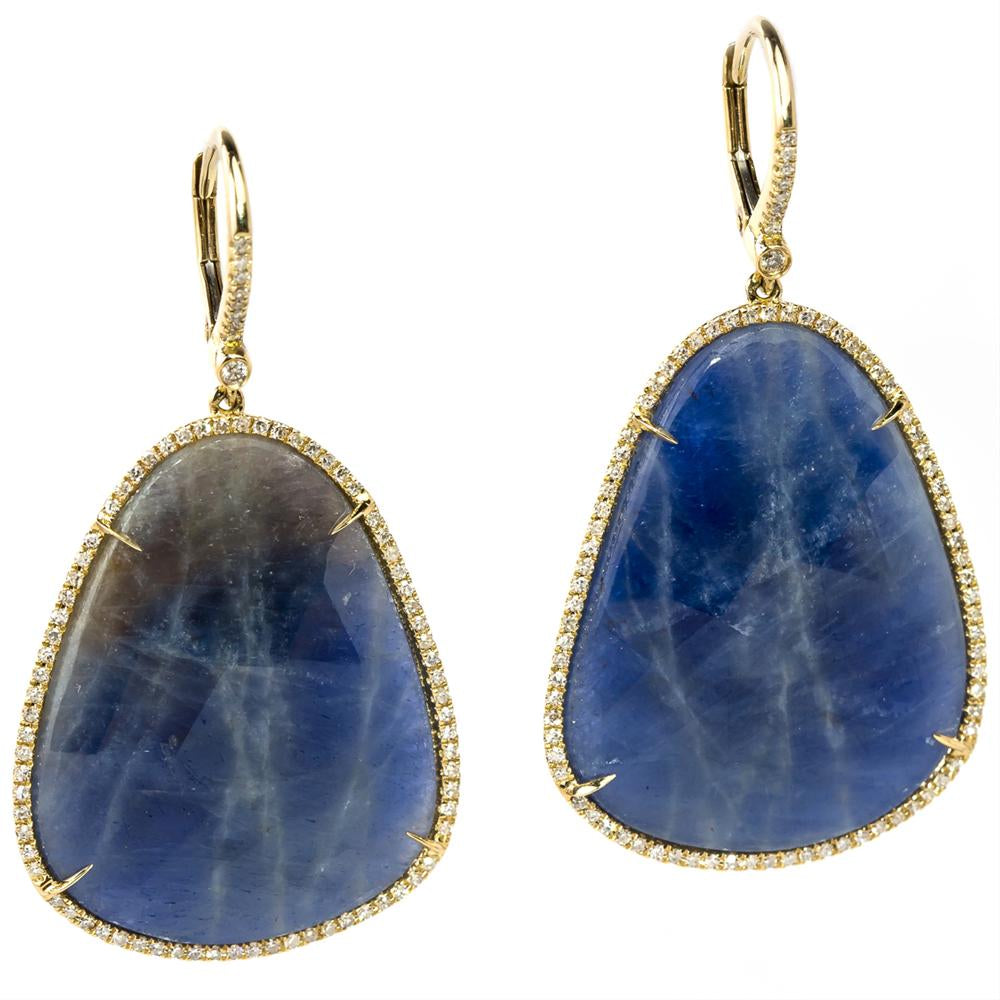 Freeform Blue Sapphire & Diamond Oval Yellow Gold Dangle Earrings