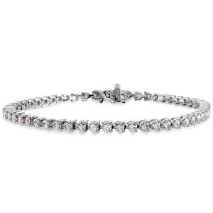 Hearts on Fire Temptation Three Prong Diamond Tennis Bracelet 18K White Gold - Nagi Jewelers