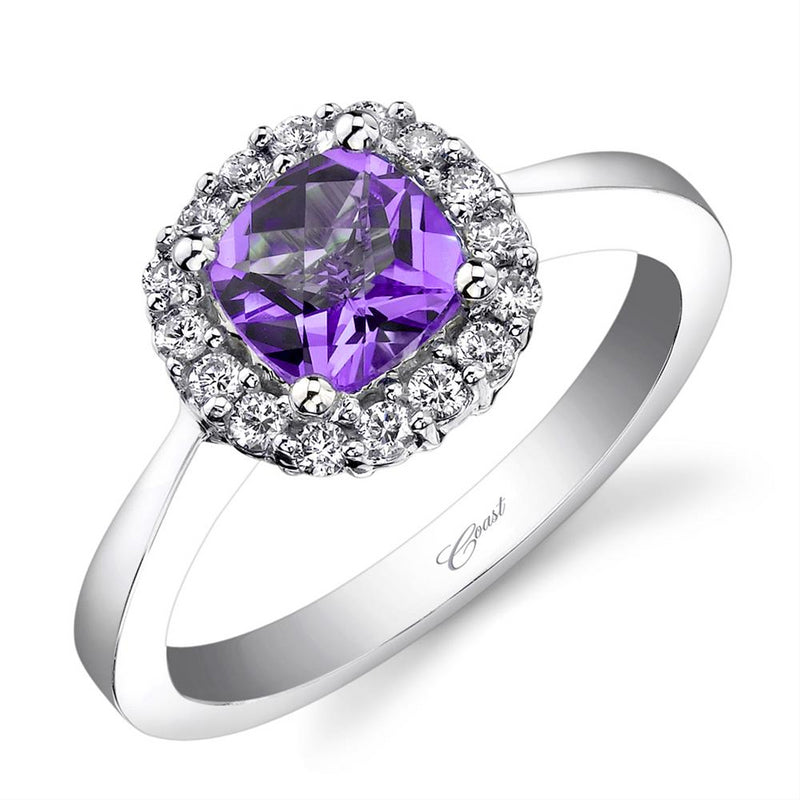 Cushion Amethyst Diamond Halo White Gold Cocktail Ring