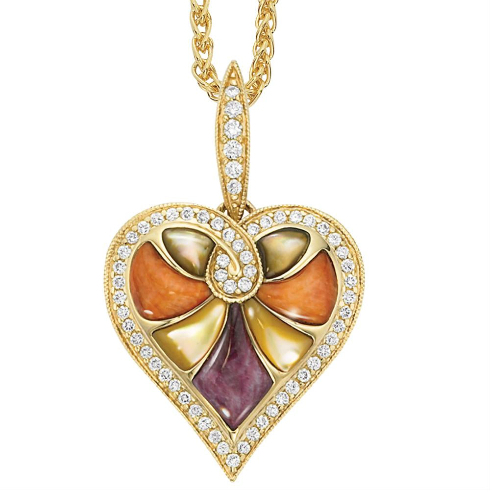 Kabana Mixed Spiny Oyster and Mother of Pearl Diamond Heart Pendant Necklace GPCF314MMS2