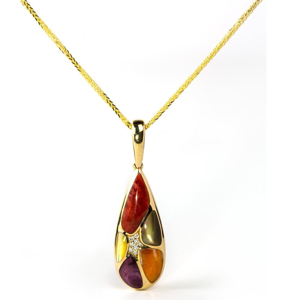 Kabana Mixed Spiny Oyster and Mother of Pearl Teardrop Pendant Necklace Yellow Gold