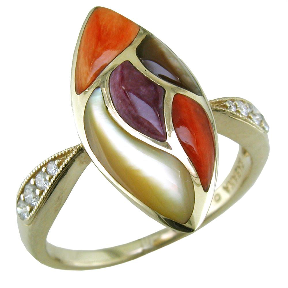 Kabana Marquise Shape Ring with Diamond & Spiny Oyster Mother of Pearl Inlay