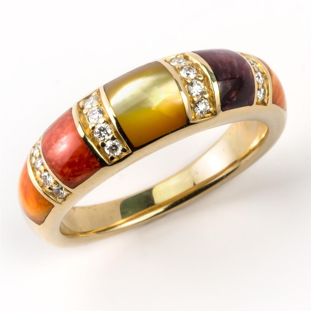 Kabana Multicolor Spiny Oyster and Mother of Pearl and Yellow Gold Ring GRIF487MMS