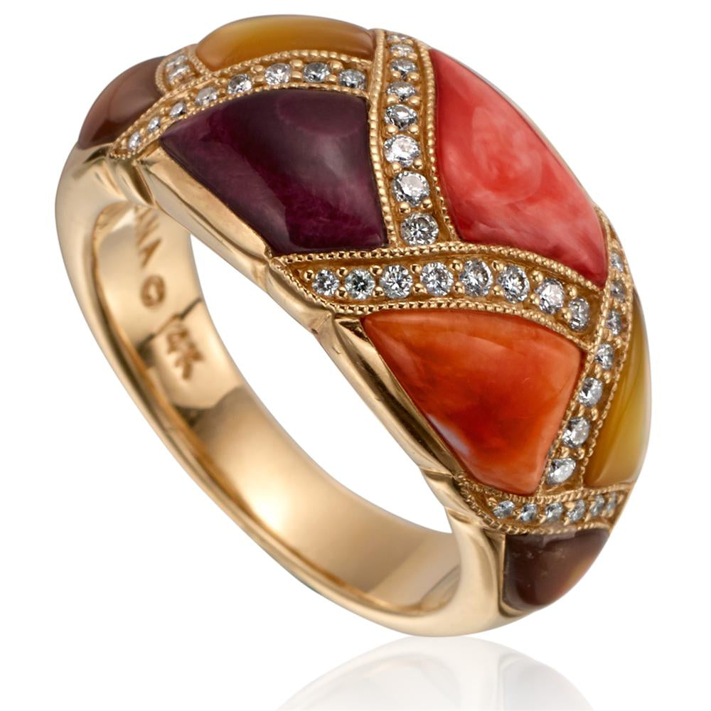 Kabana Multicolor Spiny Oyster and Mother of Pearl and Yellow Gold Ring GRIF498MMS