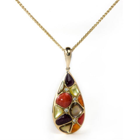 Kabana Mixed Spiny Oyster and Mother of Pearl Teardrop Pendant Necklace Yellow Gold GPCF415MMS