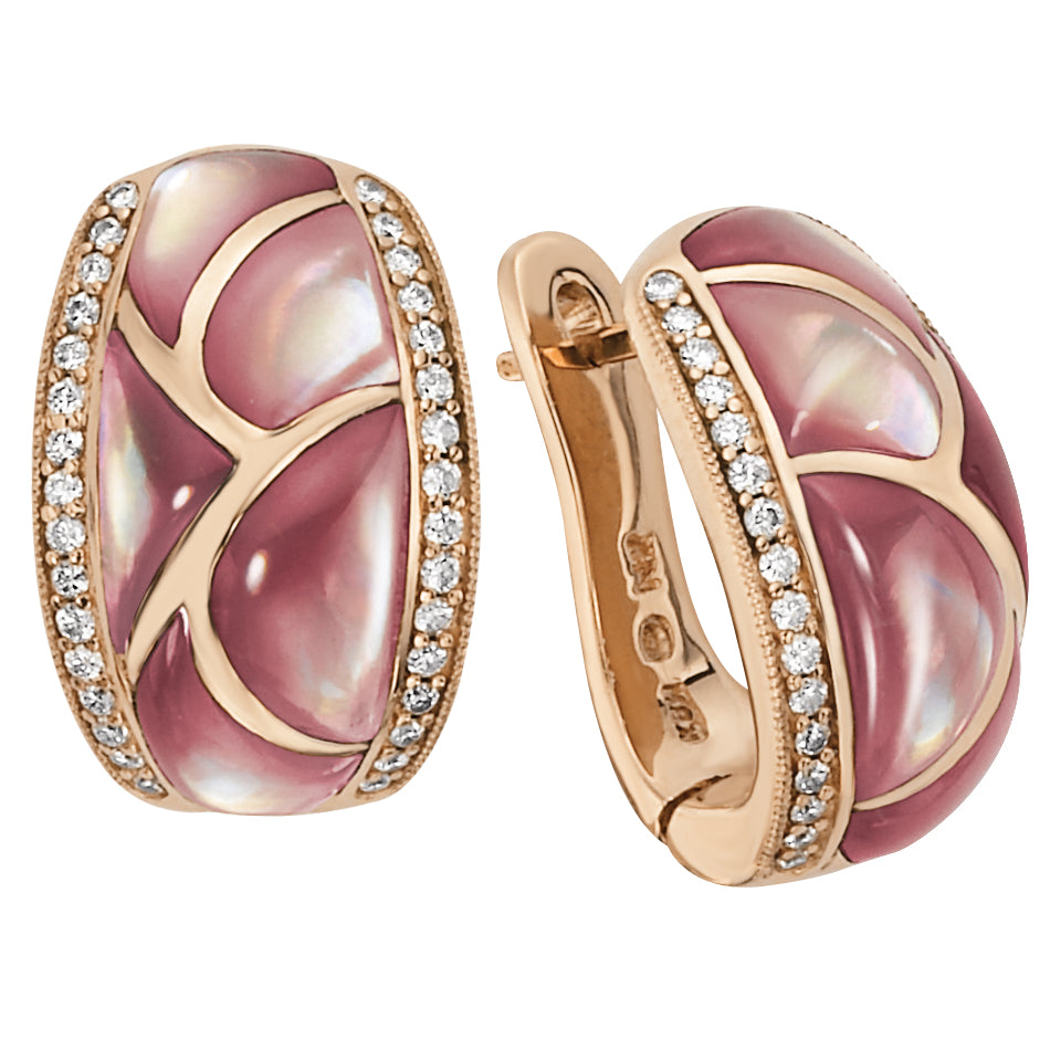 Kabana Pink Mother of Pearl Diamond Rose Gold Earrings NECF219MP