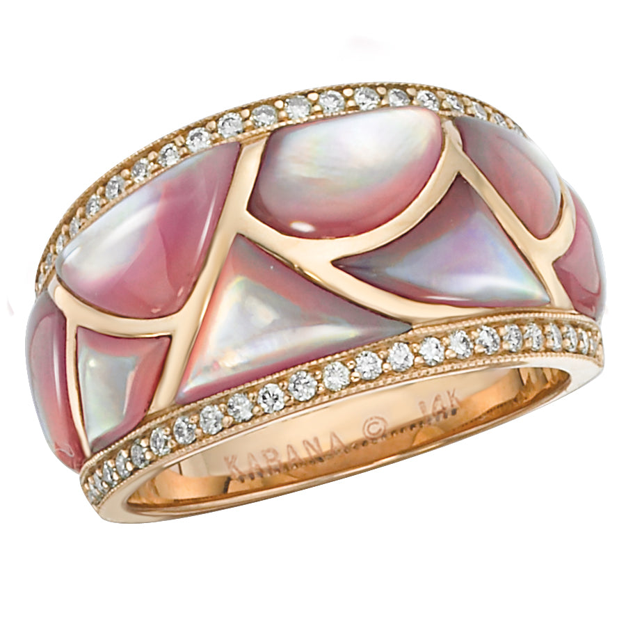 Kabana Pink Mother of Pearl and Rose Gold Diamond Ring NRIF410MP