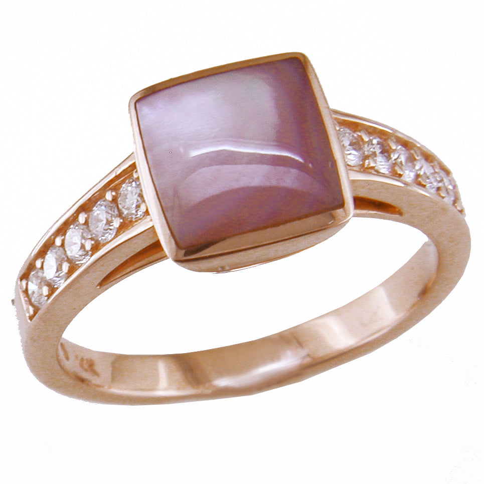 Kabana Square Pink Mother of Pearl Ring with Diamonds in 14K Rose Gold