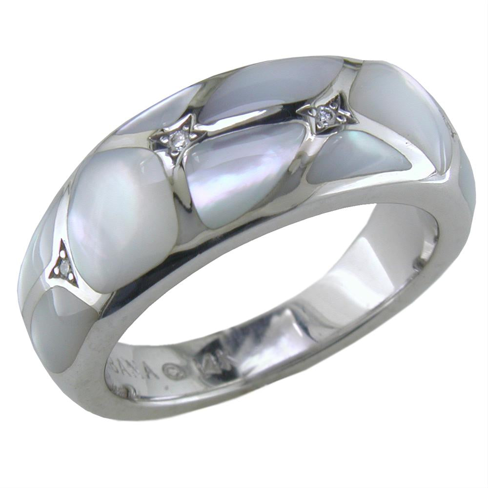 Kabana White Mother of Pearl Inlay Diamond White Gold Ring WRIF503MW