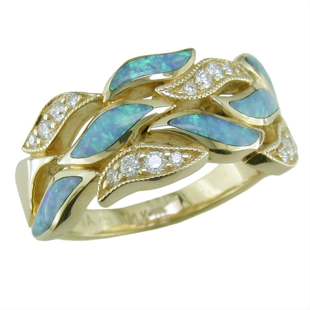 Kabana Opal Inlay 14K Yellow Gold Ring with Diamonds Flame Design