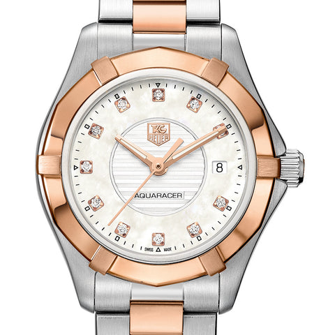 TAG Heuer Aquaracer Diamond Dial 27mm Rose Gold Steel Watch WAP1451.BD0837