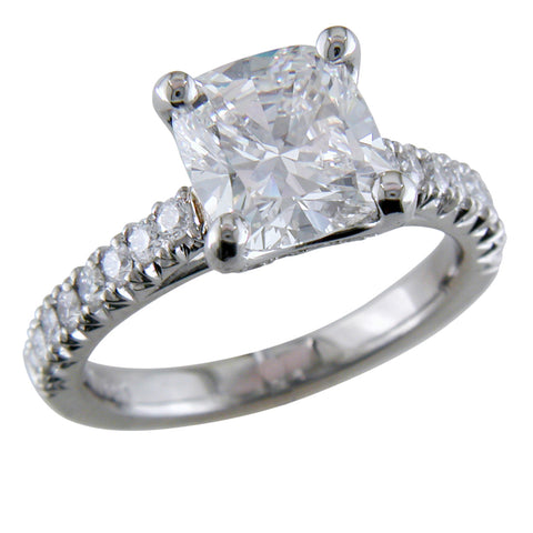 Cushion Brilliant 2 Carat Diamond Engagement Ring Platinum