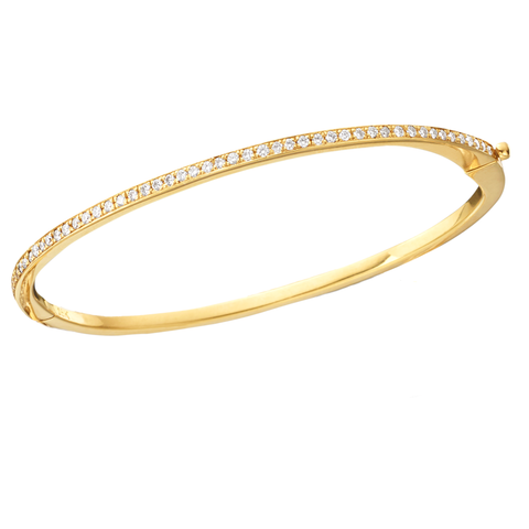 Diamond Bangle Tennis Bracelet in 18K Yellow Gold .73 Carats