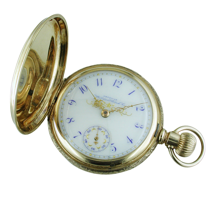Pre-owned Waltham 14K Yellow Gold Pocket Watch Lever Set Enamel Blue Size 18 Hunter 1896