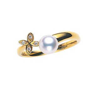 Mikimoto Akoya Pearl 18K Yellow Gold Diamond Floral Ring 6.0mm A+