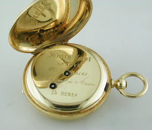 Henry Capt. Geneve 18K Yellow Gold Pocket Watch Keywind Demi Hunter Case circa 1900