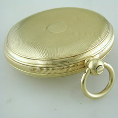 Pre-owned Henry Capt. Geneve 18K Yellow Gold Pocket Watch Keywind Demi Hunter Case circa 1900