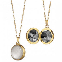 Monica Rich Kosann Yellow Gold Petite Round Double-Sided Rock Crystal over Mother of Pearl Locket Pendant