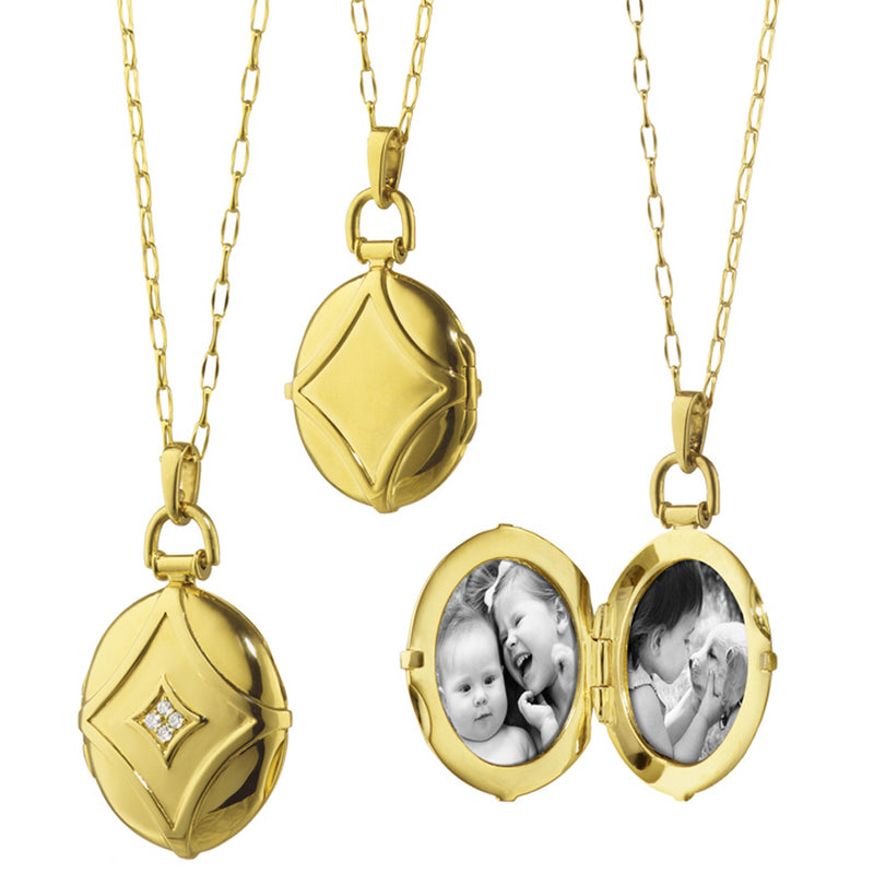 Monica Rich Kosann 18K Yellow Gold Petite Geometric Locket Pendant with Diamonds