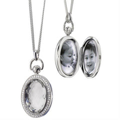 Monica Rich Kosann Sterling Silver Oval Stone Pocketwatch Locket with Faceted Rock Crystal