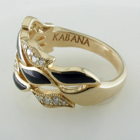 Kabana Black Onyx Inlay 14K Yellow Gold Ring With Diamonds