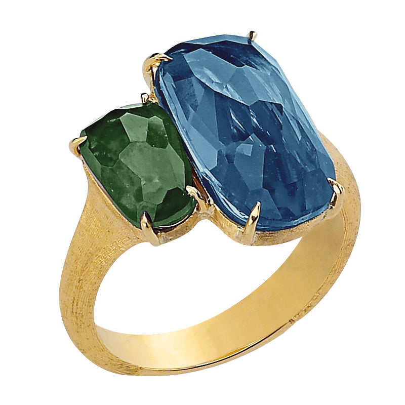 Marco Bicego Murano Blue Topaz & Green Tourmaline Ring 18K Yellow Gold AB506-MIX206