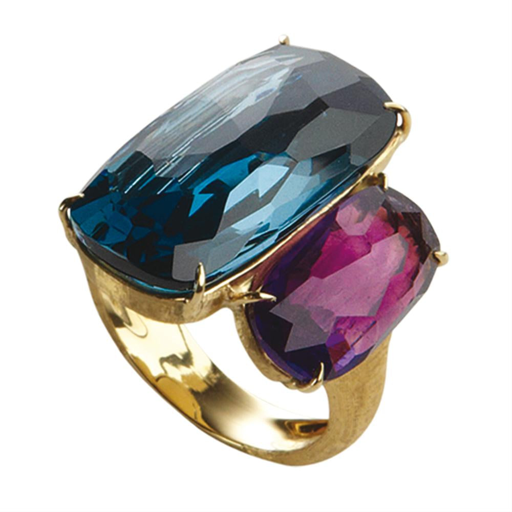 Marco Bicego Murano Blue Topaz & Amethyst Yellow Gold Ring 18K AB507-MIX52
