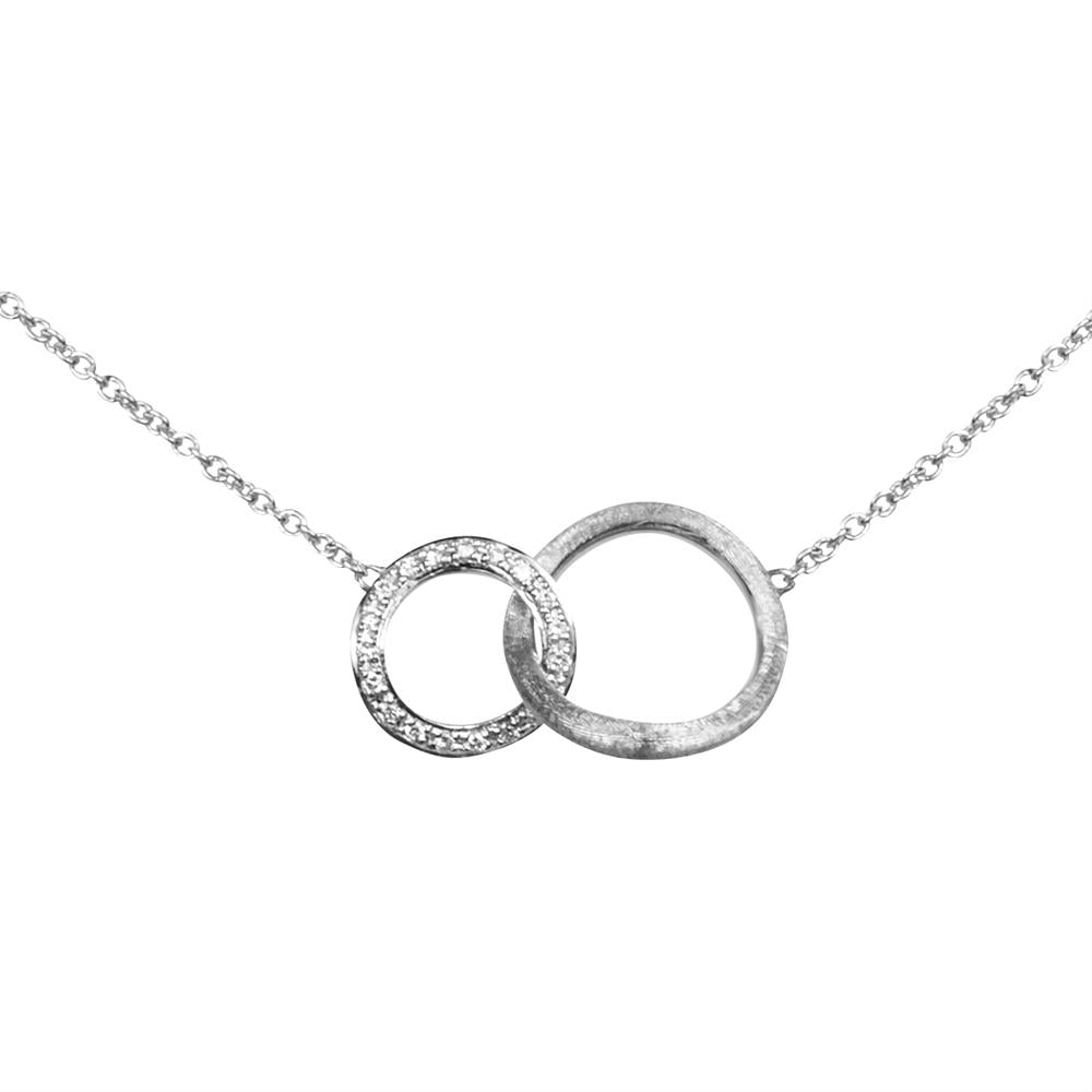 Marco Bicego Jaipur Diamond Circle Link White Gold Necklace CB1674